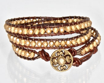 Gold Wrap Bracelet Chan Luu Gold Bracelet Leather Beaded Wrap ZuzkasDesigns