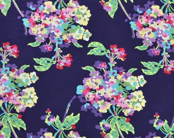 Amy Butler Love Water Bouquet Midnight Navy Blue Fabric - Summer Floral Fabric by the Yard - Amy Butler Sale Fabric - Watercolor Floral