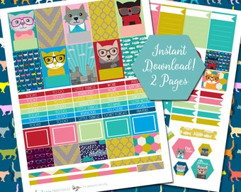 Hipster Kitties - Printable Sticker Kit - MAMBI Happy Planner - PDF - Instant Download - 2 Pages