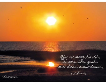 Sunset Print with C.S. Lewis Quotation