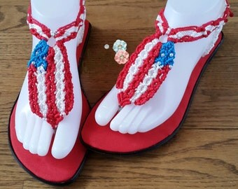 Handmade sandals for 4th of July.