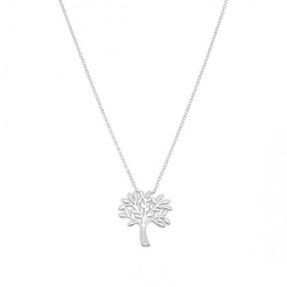 Rhodium Plated Tree Necklace