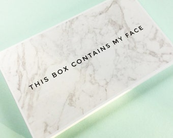 This Box Contains My Face - Marble Print Magnetic Makeup Palette - Large Size