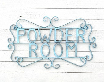 Metal Iron Powder Room Sign Plaque,Girl Gifts,Metal Sign,Aqua,Wall Decor,Antique,Home and Garden,For The House,Cute,Bathroom Decor