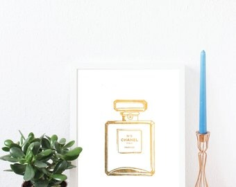 Chanel Perfume, Luxury, Fashion, Cosmetic, Gold Foil Print, A4, Gift, Illustration Art Print