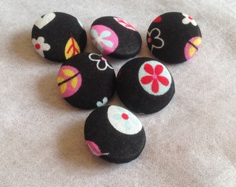 Black Buttons, Cotton, Fabric Covered Buttons, Patterned Buttons, 31mm, Large, Colourful, Abstract, Buttons, Kids, Childrens Buttons, Sewing