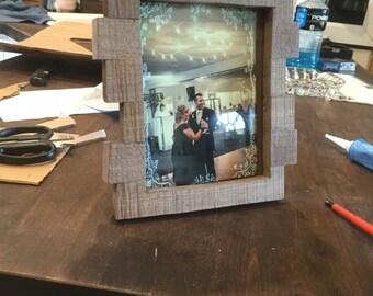 Handmade Dark Walnut rough sawn picture frame