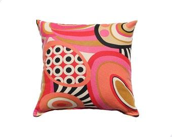 Retro decorative Pillow cover, pink ,black, ovals