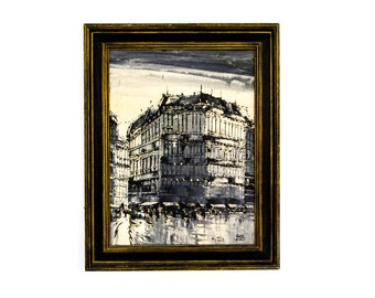 Signed Loys, Expressionist Oil Painting of the Galeries Lafayette, Paris, France