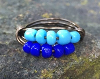 Handmade Turquoise Blue and Bronze Wire Wrapped Ring Size 6.5