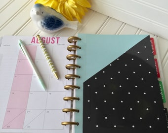 Happy Planner pocket for mini, classic large size planner steel blue and charcoal black gray with white polkadots