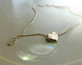 Delicate heart shaped gold colored necklace gifts for her