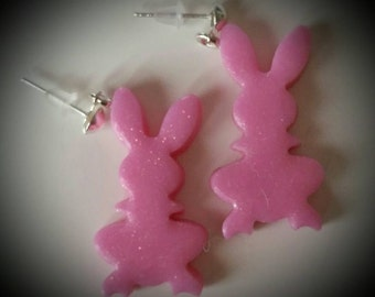 Earrings pink rabbits handmade polymer clay...