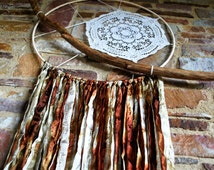 Large dreamcatcher, wooden dreamer, boho wallhanging, vintage, gold, brown, coffee, upcycled, organic, vegan textiles, bohemian interior