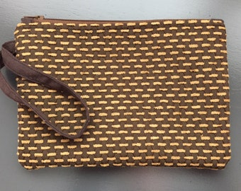 Brown Lined Wristlet Handmade One of a Kind very Unique