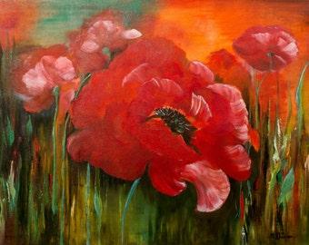 Poppies Oil painting, Home decor, 100%  handmade. Art