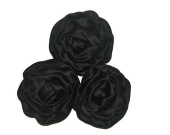 3 Satin Rosette Flowers, Black Fabric Roses, Wholesale Flowers, Headband Supplies, DIY Mixed Flowers, #1
