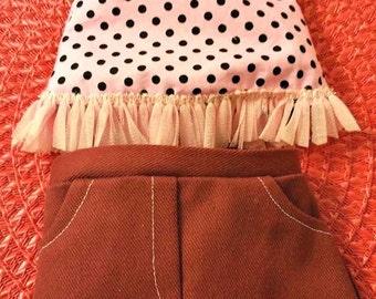 Pink Polka Dot top and Burgandy skirt fits American Girl