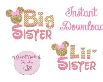 Minnie Mickey Mouse BOTH Little Lil Sister Shirt DIY Iron On Digital Art Little Sister Matching Pink Gold Pregnancy Announcement