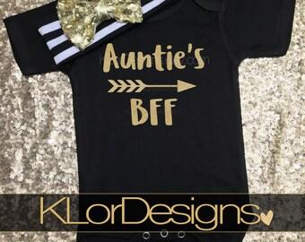 Auntie is my Bestie onesie, Baby Girl onesie, Auntie's BFF onesie, Baby Shower Gift