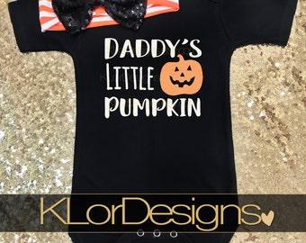 Daddy's Little Pumpkin Onesie, Halloween Onesie, Baby Girl onesie, October baby onesie, first Halloween onesie, daddy's little girl onesie