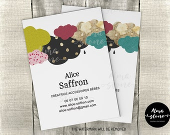 PRINTABLES - Premade Business card - PDF template - Little clouds