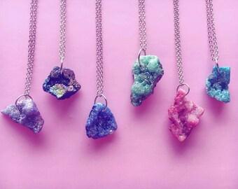 Sparkly druzy geode necklace