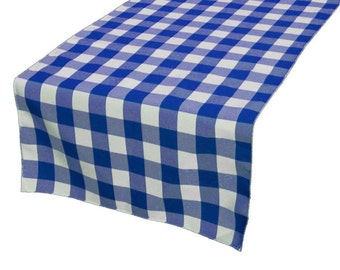 Zen Creative Designs Premium Cotton Table Top Runner Gingham Checker Blue
