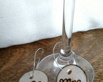 Woodburned Woodslice Rustic Wedding/Mr. & Mrs/ Wine Glass Charms (2)