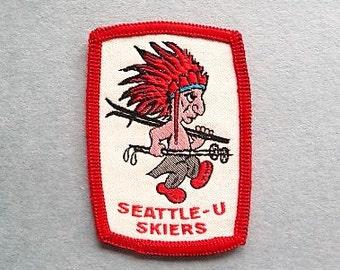 Vintage Ski Patch  --  Seattle University Skiers ... Unique Washington State Skiing Souvenir