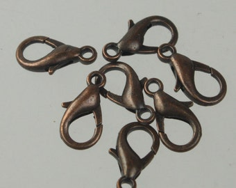 100 pcs 16x8mm Antique Copper extra LARGE 16mm 5/8 inch lobster claw clasp - Ship from California USA