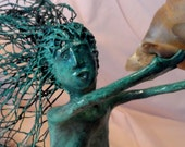 Paper Mache, Mermaid Sculpture, OOAK, Reclaimed Materials, Handmade & Signed, Hanging or Standing Sculpture