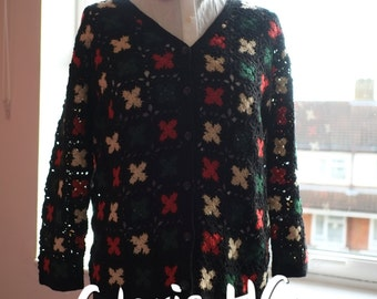 Hollow colourful cross sweater