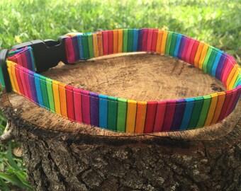 Rainbow Dog Collar - Retro Dog Collar - Colorful Dog Harness - Colorful Dog Collar - Rainbow Dog Leash - Rainbow Dog Harness