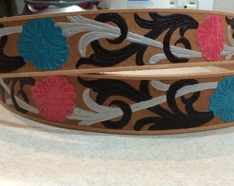 Hand painted leather belts