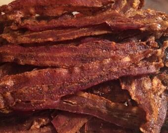 Tangy Sriracha Candied Bacon Jerky