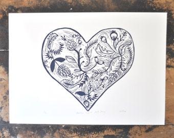 Garden Heart, Original Lino Print of Floral Heart, Dark Grey, Linocut, Original Print, Printmaking, Australian, Organic