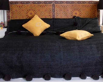 Moroccan Pompom Blanket Cotton Throw, Handwoven on Traditional Wooden Looms (BC5B)