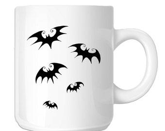 Flying Bats Silhouette Halloween (SP-00526) 11 OZ Novelty Coffee Mug