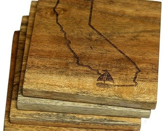 California With Sailboat in Location of San Diego Coasters - Set of Four Engraved Acacia Wood Coasters