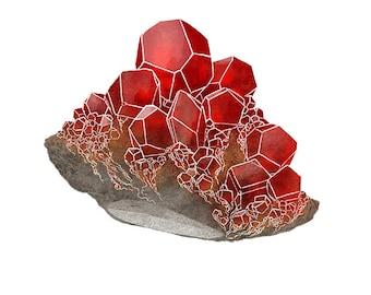 Garnet- Printable 8.5 x 11 Nature Art Print January birthstone crystal gemstone birthday geology
