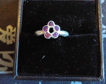Silver and amethyst flower ring, Handmade, uk size J