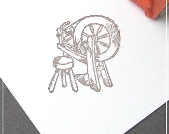 Spinning Wheel Rubber Stamp