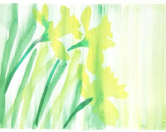 Original Watercolor Painting, Not Print, 12.6 inches x 9.4 inches, Daffodils Yellow, 17032012007mBLNRYW
