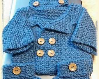Newborn Peacoat with matching hat and booties