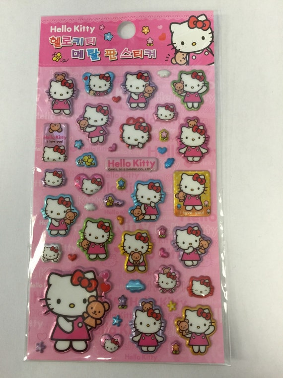 SALE Sanrio Hello Kitty Pink Foil 3D Sticker Sheet Planner
