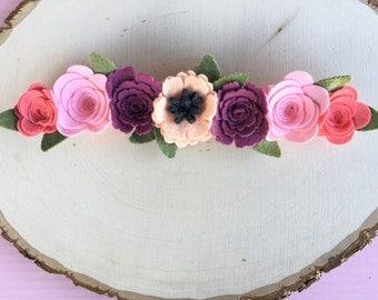 Boho Baby Flower Crown, floral crown, flower halo, Crown, Flower halo, Flower Crown, Flower Girl Headband, Flower Girl Crown,