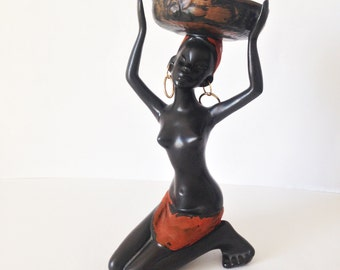 Mid Century African woman Plaster figure