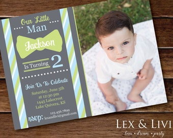 Little Man Birthday Invitation with Photo - Bow Tie Invitation - Little Man Printable - Boy Birthday - Little Man Birthday - Bow Tie