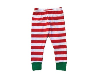 Christmas leggings - Red striped leggings - Baby leggings - Toddler leggings - Christmas outfit - Newborn Christmas leggings - Christmas pjs